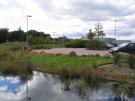 SuDS retention pond in Scotland