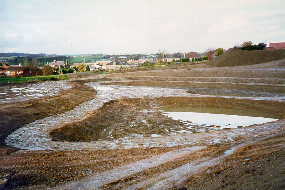 SuDS pond under construction