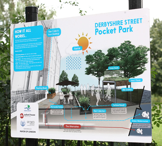 Figure 19: Signage at the pocket park to help explain the scheme